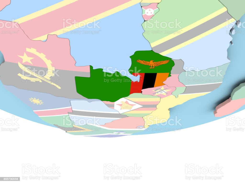 Map of Zambia with flag on globe stock photo