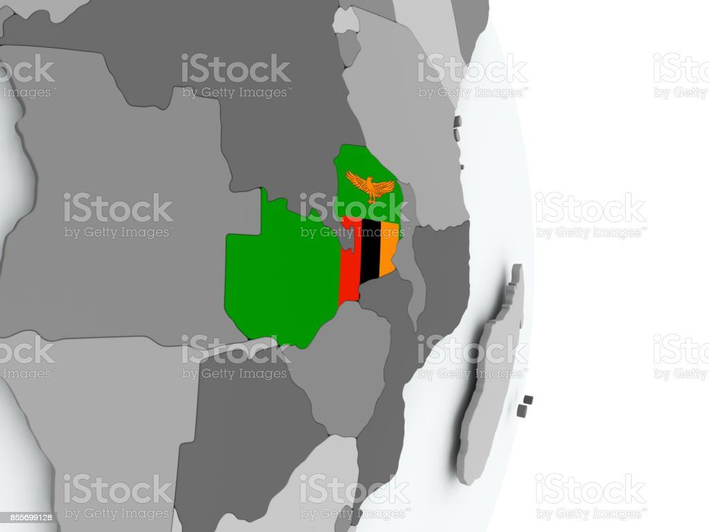 Map of Zambia with flag stock photo