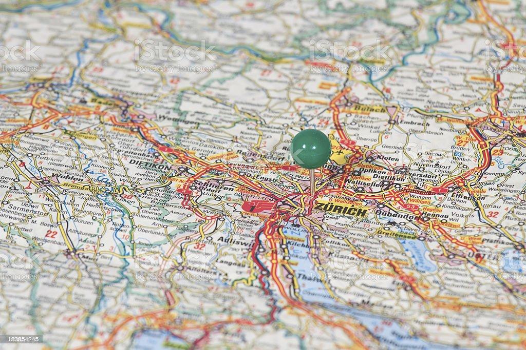 Map of Zurich, Swisse stock photo