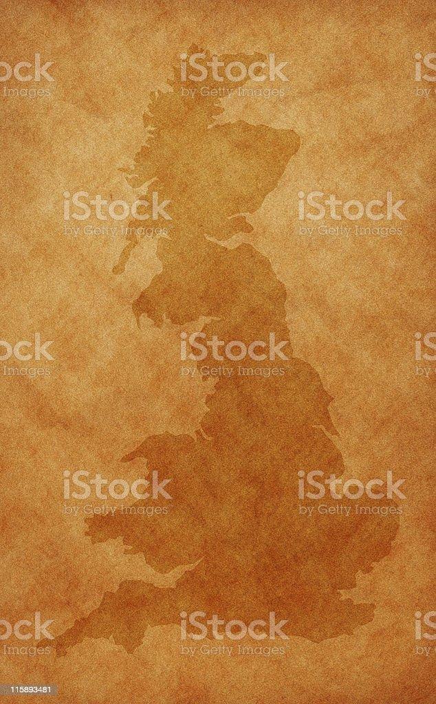 UK map on aged background royalty-free stock photo