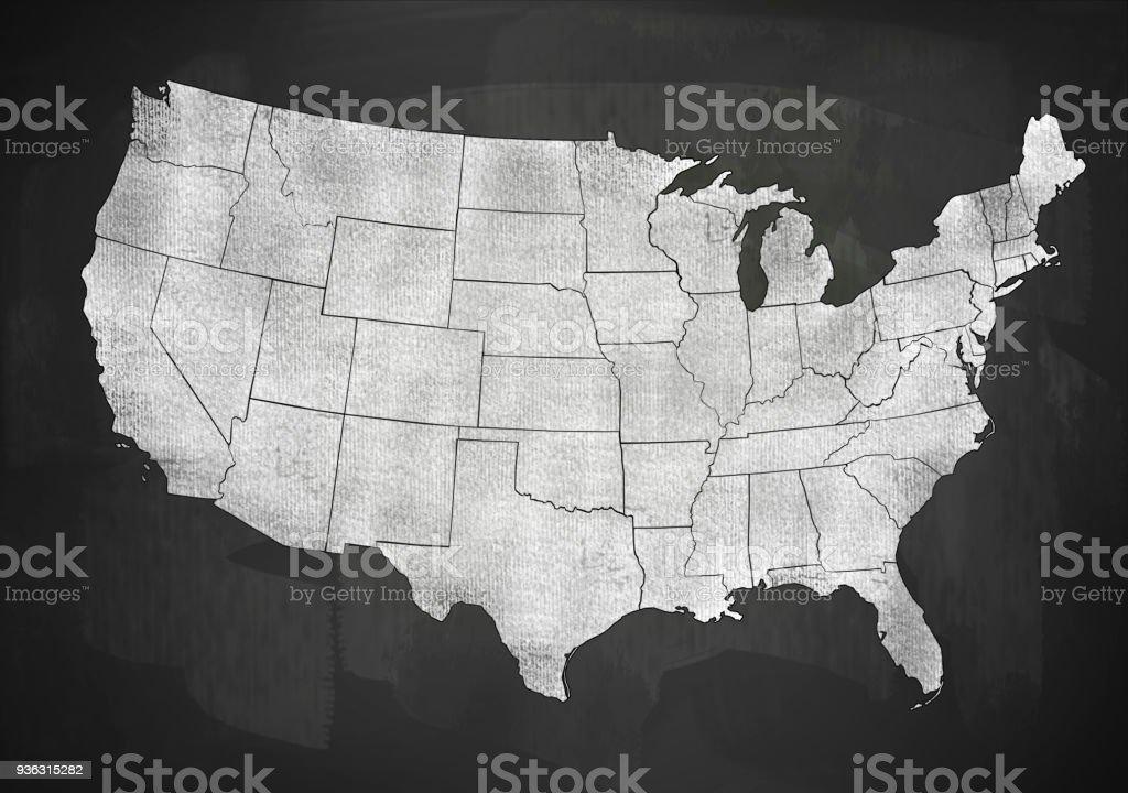 ABD harita üzerinde yazı tahtası (devamı için tıklayın) stok fotoğrafı