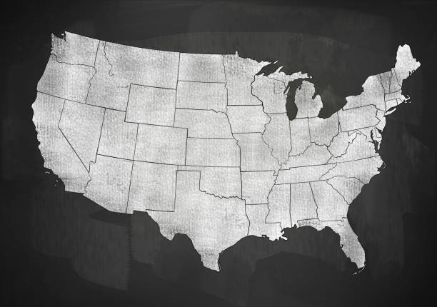 USA map on blackboard (Click for more) stock photo