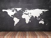 Map on Chalkboard Background - 3D Rendering