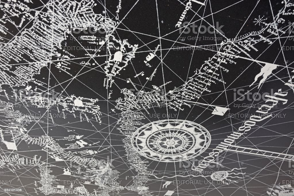 Map on concrete ceiling, Lagos, Portugal. stock photo