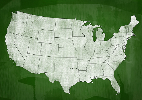 istock USA map on Green board (Click for more) 1132162844