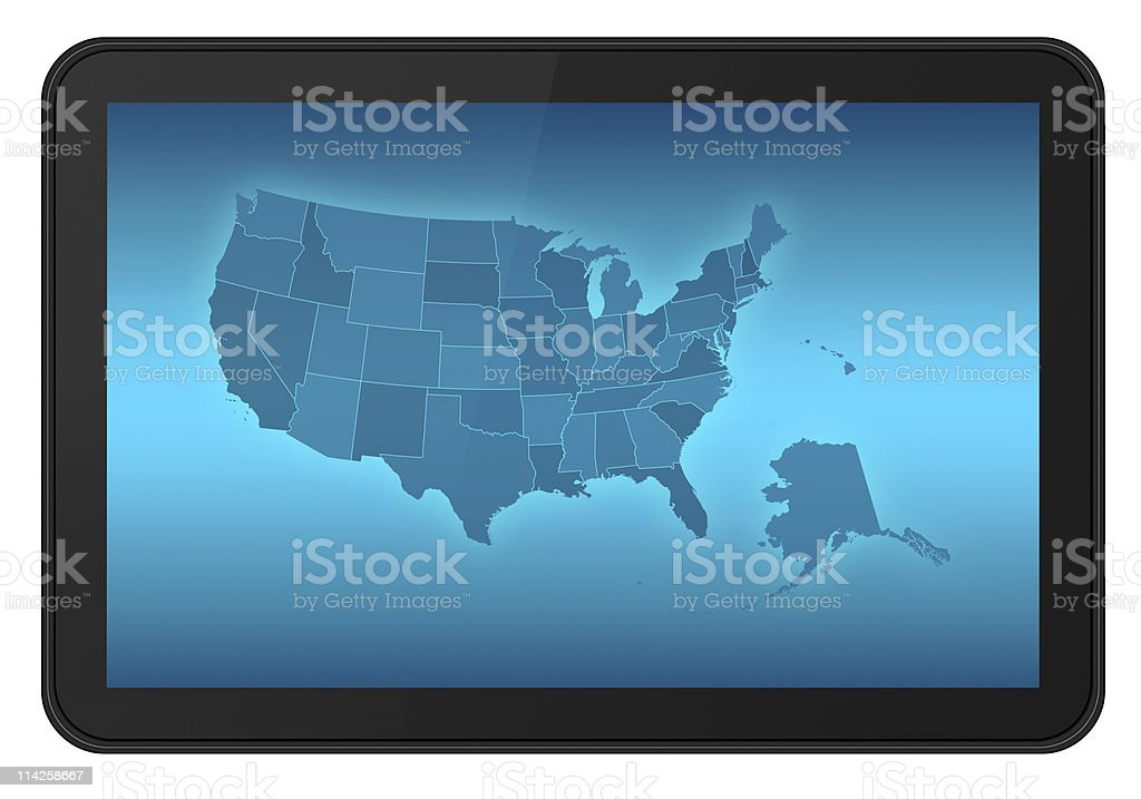 USA Map on Tablet PC royalty-free stock photo
