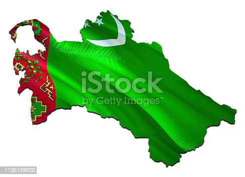 istock Map on Turkmenistan waving Flag. 3D rendering Turkmenistan map and waving flag on Asia map. The national symbol of Turkmenistan. Turkmenistan flag on Asia background. National Ashgabat flag