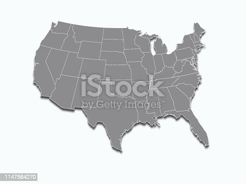 520945644 istock photo USA map  on white background 1147564270
