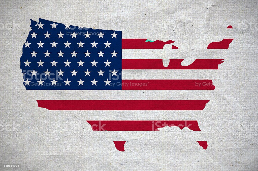 USA map on white canvas stock photo