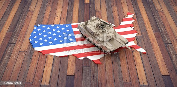 831661634istockphoto USA Map on Wood Floor with Armored Tank - 3D Rendering 1089673894