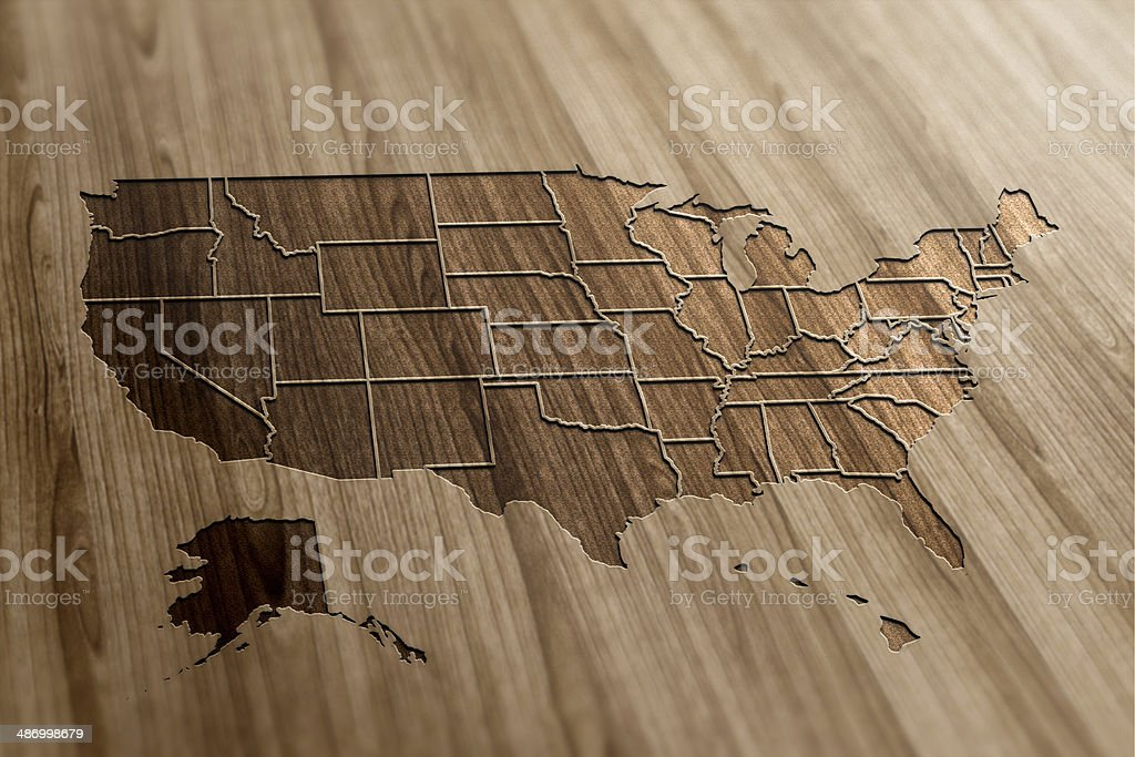 USA Map on Wood stock photo