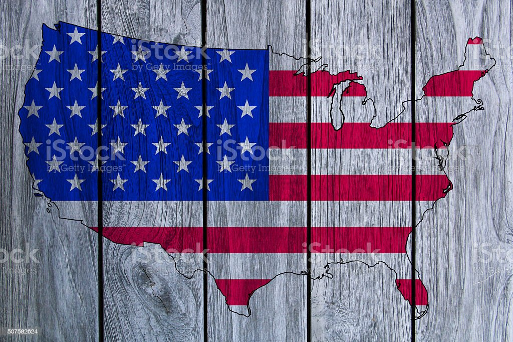 USA map on wood texture stock photo