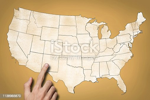 520945644 istock photo USA map on yellow background (Click for more) 1138965870