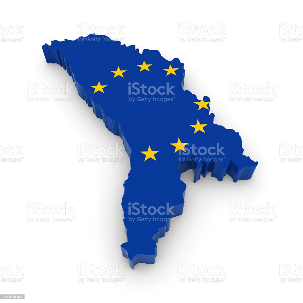 D Map Outline Of Moldova With The European Union Flag Stock Photo - Moldova map outline