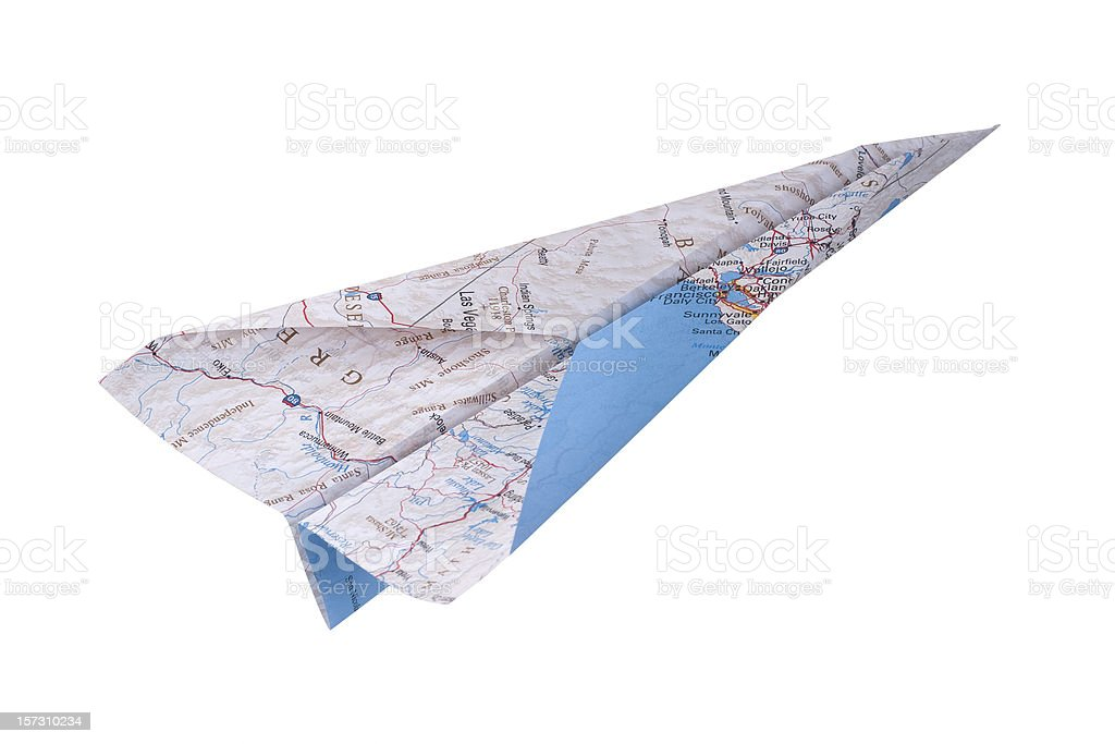 Map Paper Airplane stock photo