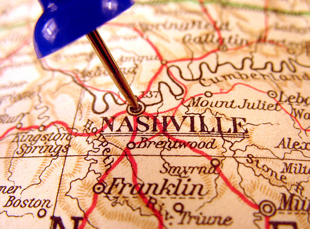 a map pegged at nashville tennessee - tennessee map stock photos and pictures