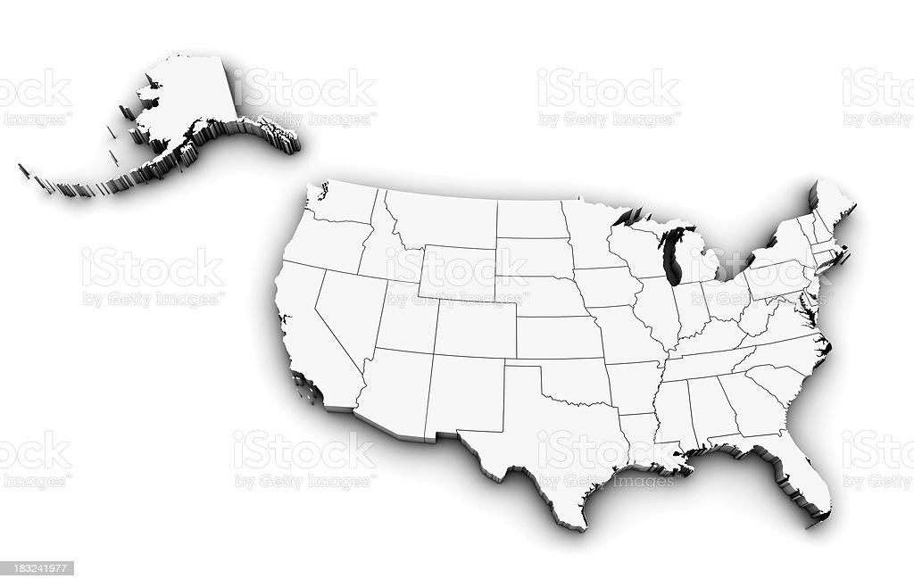3D USA Map stock photo