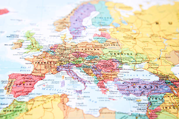 map. - europe map stock photos and pictures
