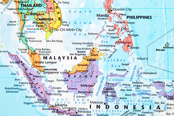 Map. Map with Malaysia in focus. southeast asia stock pictures, royalty-free photos & images