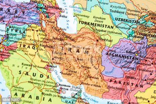 Map with Iran in focus.