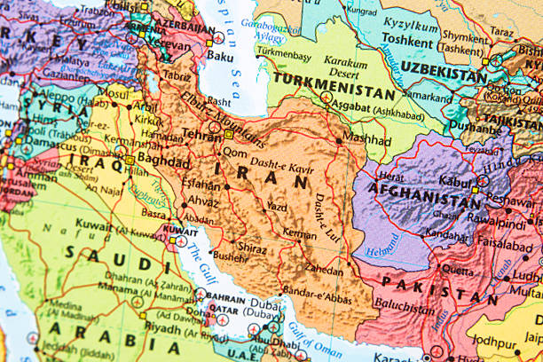 Map. Map with Iran in focus. Afghanistan stock pictures, royalty-free photos & images