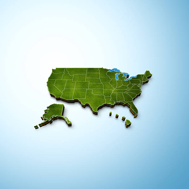 usa map - alaska us state stock photos and pictures