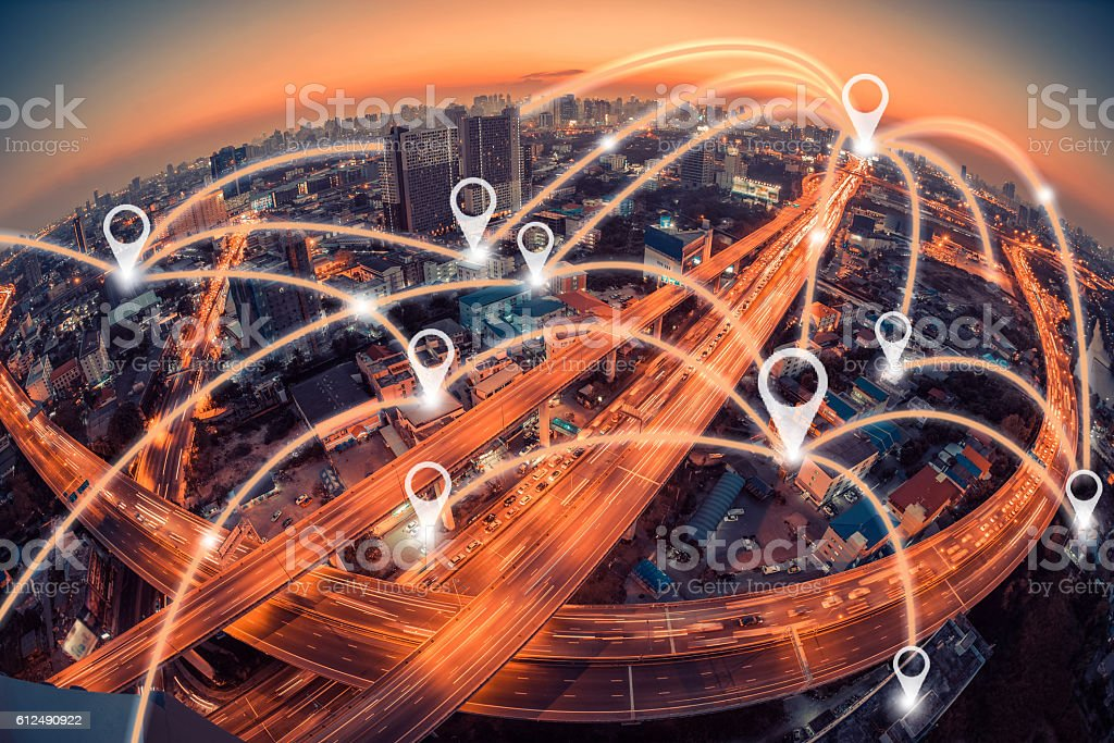 Map pin flat above city scape and network connection concept stock photo