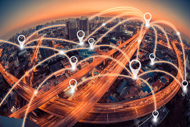 Map pin flat above city scape and network connection concept - foto de stock