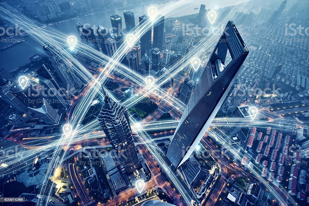 Map pin flat above city scape and network connection concept Map pin flat above city scape and network connection concept Abstract Stock Photo