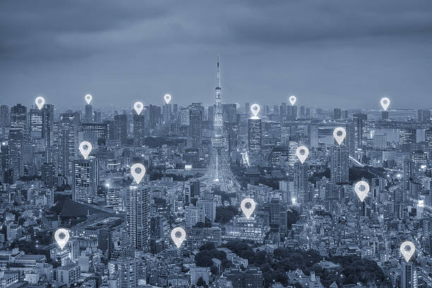 map pin flat above tokyo city scape and network connection - wave icon stock photos and pictures