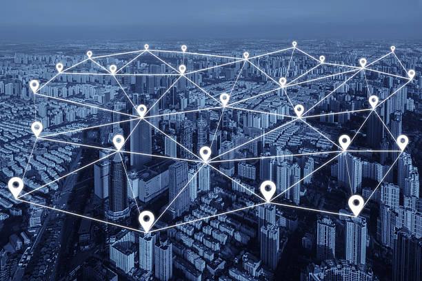 map pin flat of network connection in city. network connection - baguette pour pointer photos et images de collection