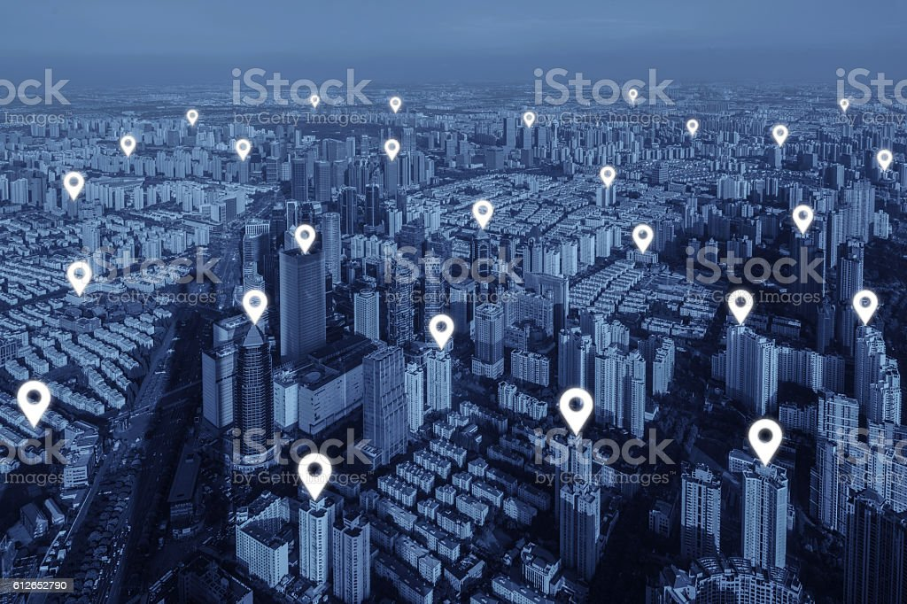 Map pin flat of network connection in city. stock photo