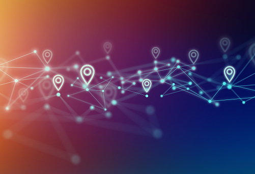 Map Pin Icon with Network Polygon Graphic Abstract Background.