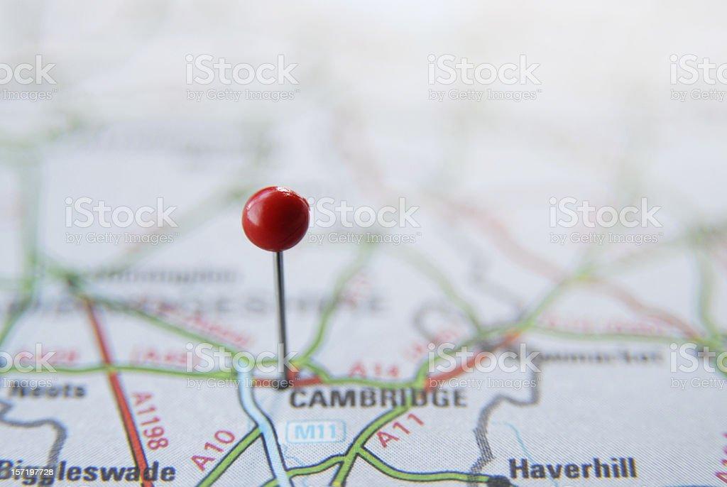 Map pin in Cambridge stock photo