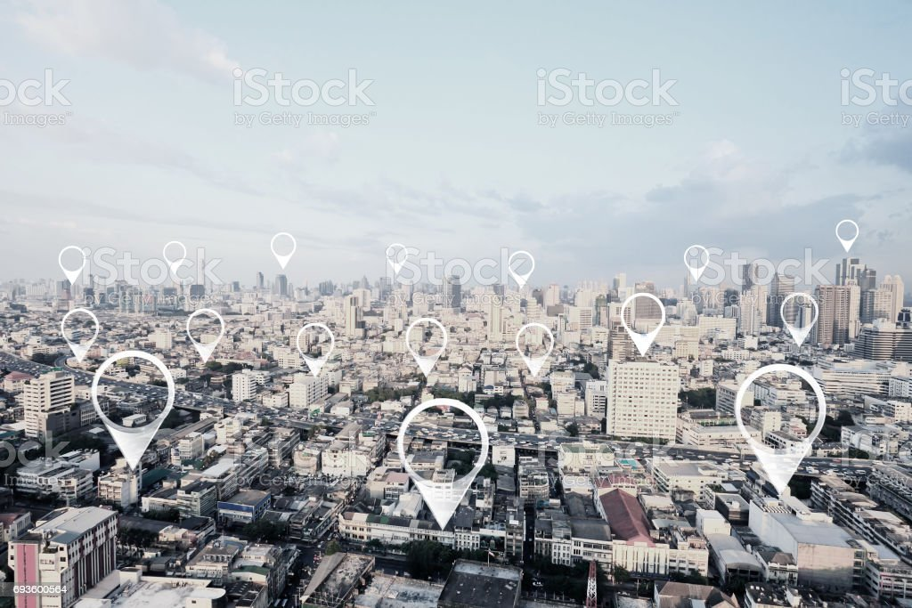 Map pin in cityscape and network connection. Connection concept. stock photo