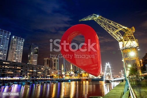 istock Map Pin Pointing at a Place in Buenos Aires 959709366