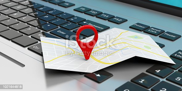 Travel and navigation concept - map pointer location on a laptop. 3d illustration