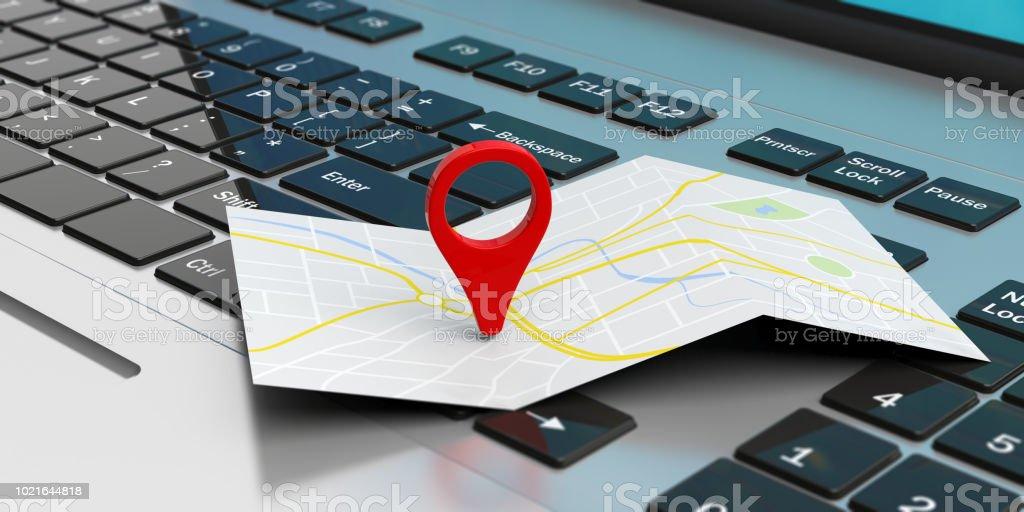 Ordnen Sie die Position des Mauszeigers auf einem Laptop. 3D illustration – Foto