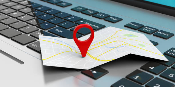 Map pointer location on a laptop. 3d illustration stock photo