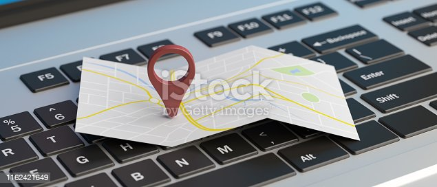 610119450 istock photo Map pointer location on a laptop. 3d illustration 1162421649