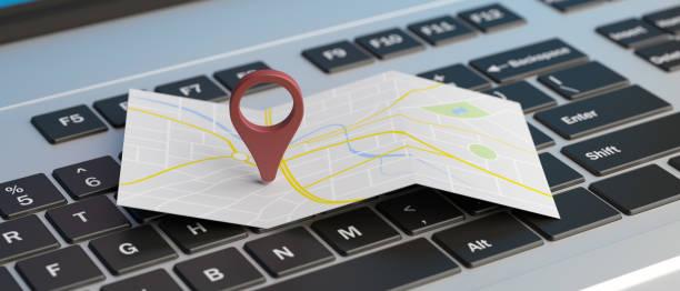 Karte Zeigerposition auf einem Laptop. 3D-Illustration – Foto