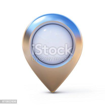 istock Map pointer, mark, pin, marker 3d rendering 870602606
