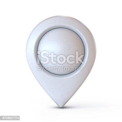 istock Map pointer, mark, pin, marker 3d rendering 870602724