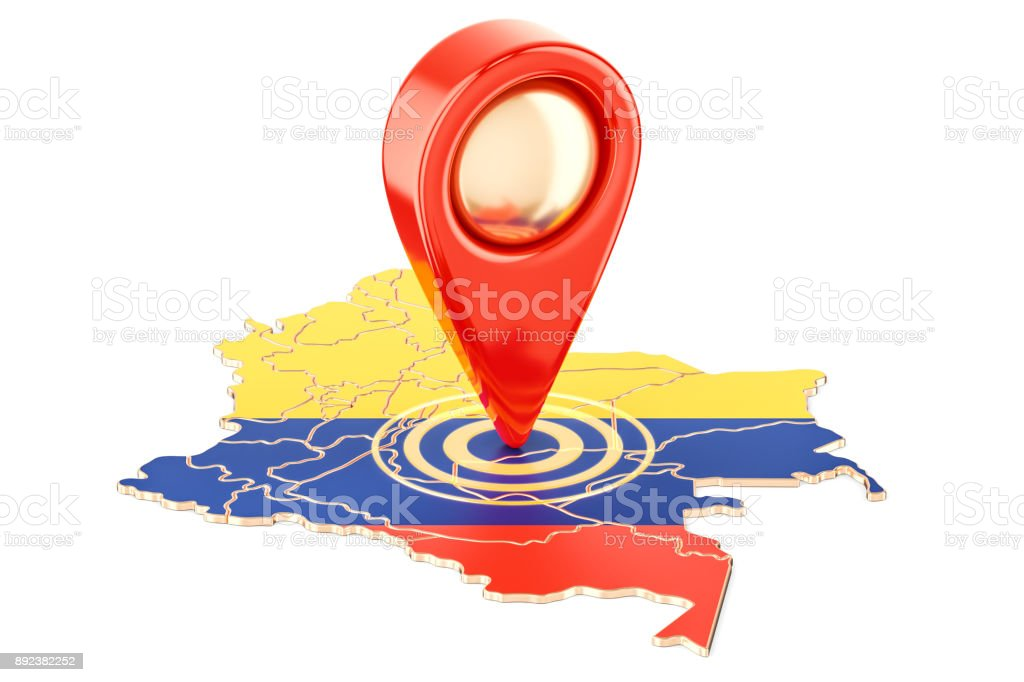 Map pointer on the map of Colombia, 3D rendering isolated on white background Map pointer on the map of Colombia, 3D rendering isolated on white background Button - Sewing Item Stock Photo