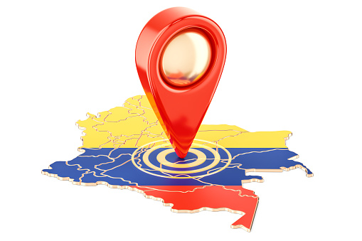 Map Pointer On The Map Of Colombia 3d Rendering Isolated On White Background Stock Photo - Download Image Now