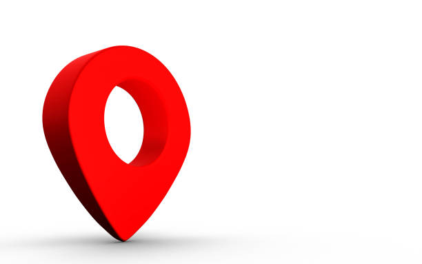 Map pointer sign in red color isolated on white background. 3D Rendering stock photo