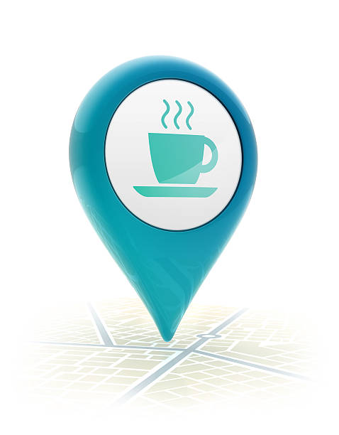 Map pointer with coffe cup icon stock photo