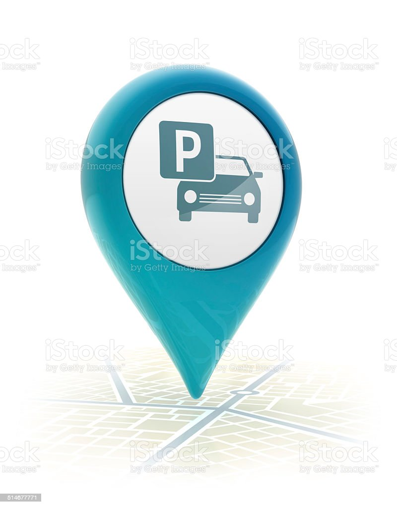 Map pointer with parking icon stock photo
