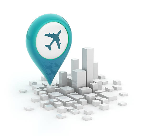 Map pointer with plane icon - 3d city stock photo