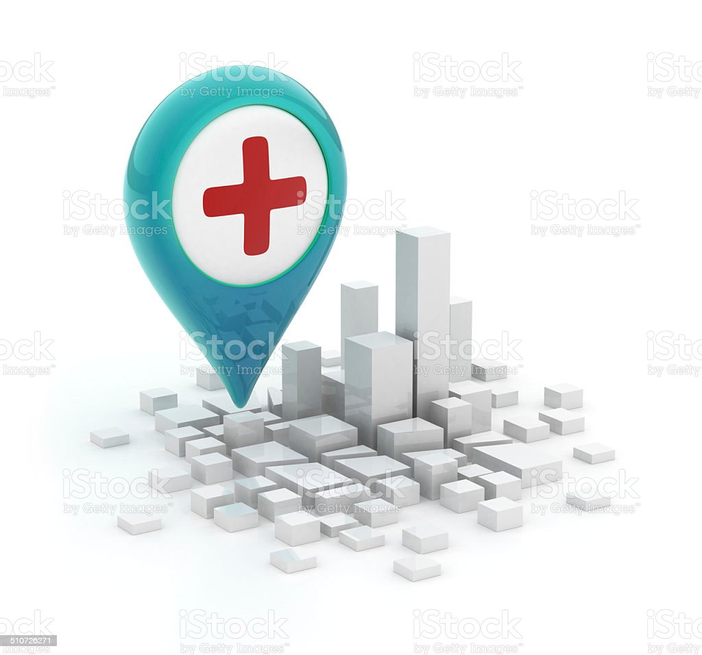 Map pointer with   plus icon - 3d city stock photo